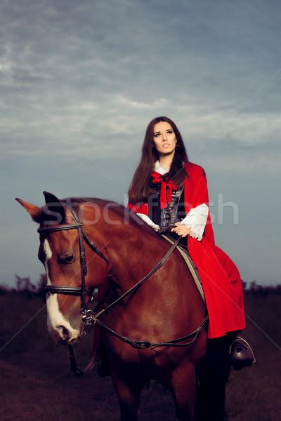 Güzel prenses kırmızı binicilik at portre Stok fotoğraf © NicoletaIonescu