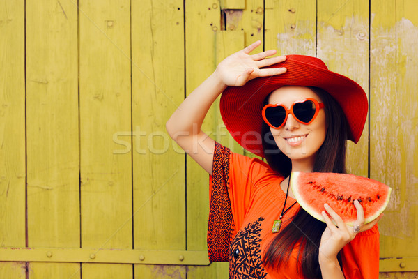 Girl with Sunglasses and  Red Hat with Watermelon Slice Stock photo © NicoletaIonescu