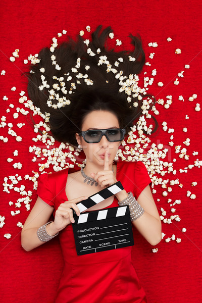 Girl with 3D Cinema Glasses,  Popcorn and Director Clapboard Asking for Silence Stock photo © NicoletaIonescu