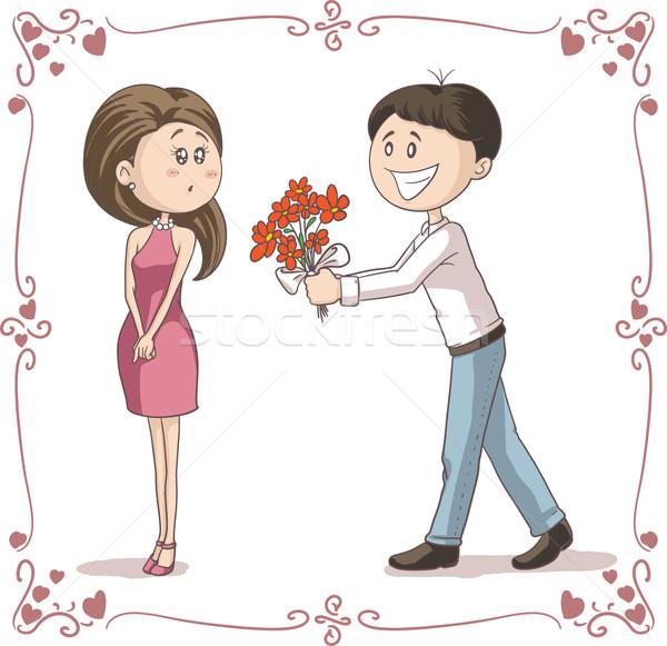 Man bloemen verlegen vrouw vector cartoon Stockfoto © NicoletaIonescu