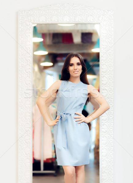 Gyönyörű nő elegáns ruha tükör divat modell Stock fotó © NicoletaIonescu