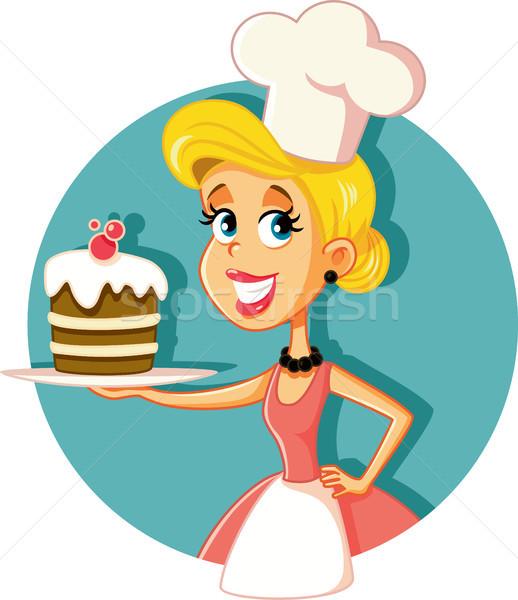 Female Pastry Chef Baking a Cake Vector Illustration Stock photo © NicoletaIonescu