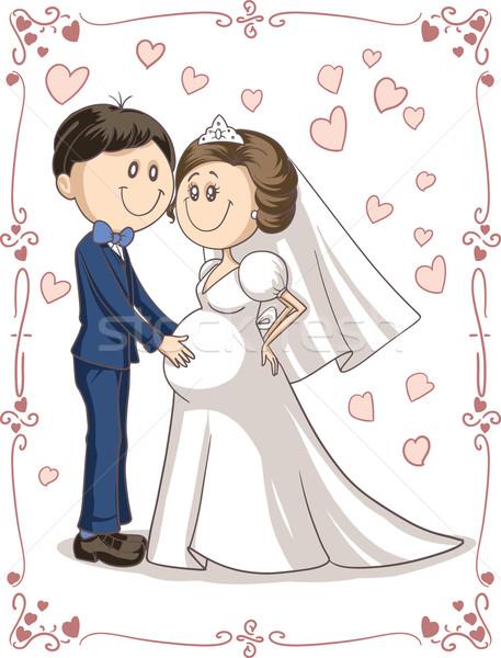ストックフォト: 妊娠 · カップル · 結婚式招待状 · ベクトル · 漫画 · 花嫁