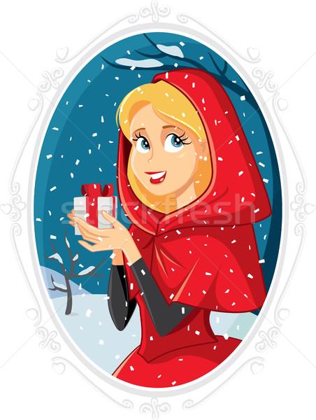 Karácsony hercegnő ajándék doboz tél kívül lány Stock fotó © NicoletaIonescu