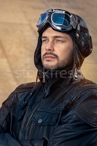 Retro Pilot Portrait with Glasses and Vintage Helmet Stock photo © NicoletaIonescu