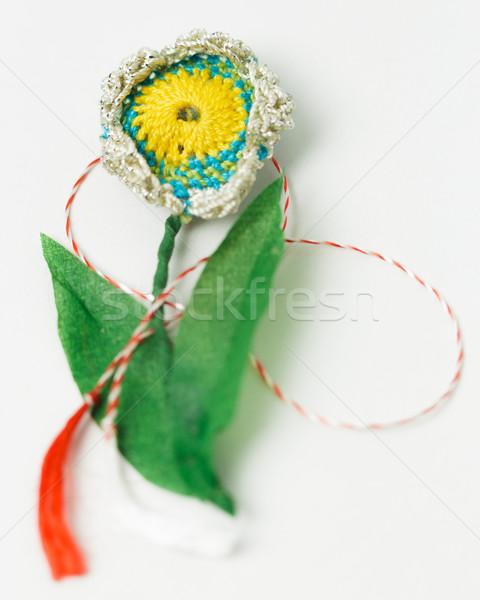 Stok fotoğraf: Tığ · işi · çiçek · el · yapımı · dekoratif · nesne · tekstil