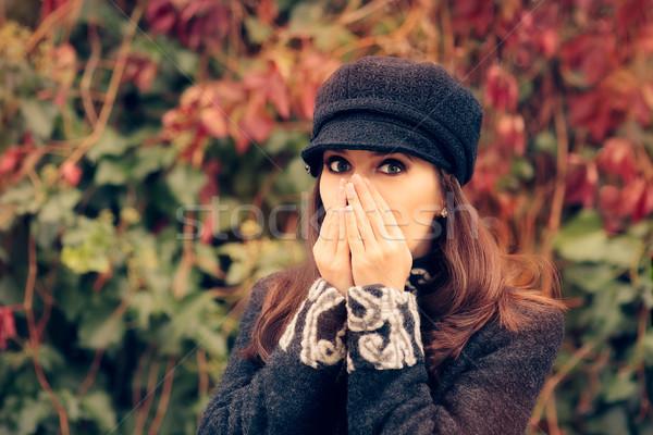 Aranyos lány ősz allergia portré gond Stock fotó © NicoletaIonescu