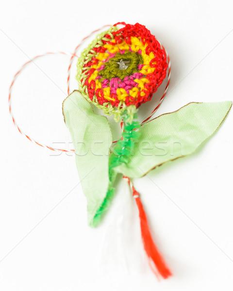 Croché flor hecho a mano decorativo objeto textiles Foto stock © NicoletaIonescu