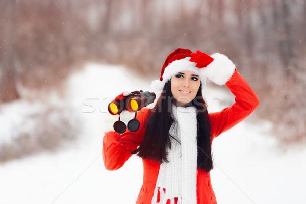 Mädchen Fernglas schauen Weihnachten glücklich Frau Stock foto © NicoletaIonescu