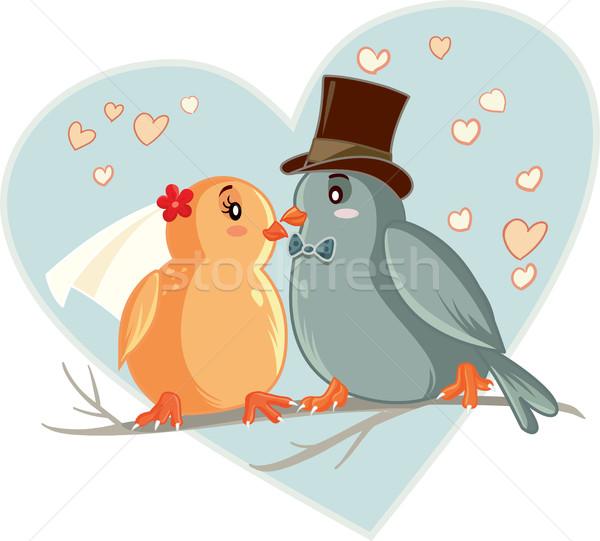 Lovebirds Vector Cartoon Wedding Invitation Stock photo © NicoletaIonescu