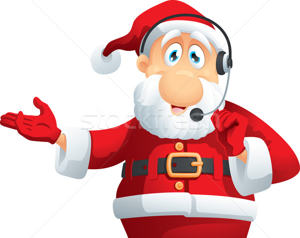 Дед Мороз Call Center вектора Cartoon гарнитура Рождества Сток-фото © NicoletaIonescu