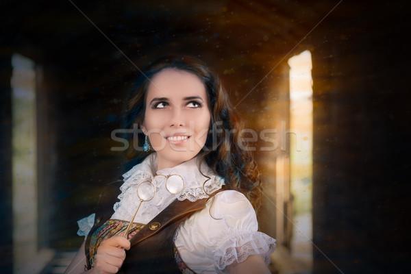 Steampunk lány fiatal nő néz haj szemüveg Stock fotó © NicoletaIonescu