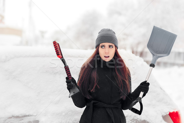 девушки щетка лопатой снега автомобилей Сток-фото © NicoletaIonescu