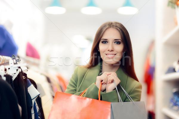 エレガントな ショッピング 女性 着用 緑 コート ストックフォト © NicoletaIonescu