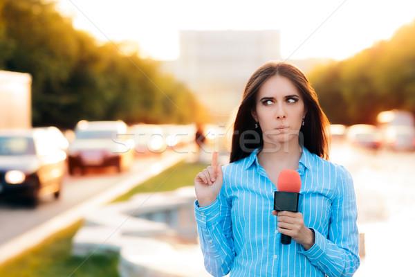 Meglepődött női riporter mező forgalom nő Stock fotó © NicoletaIonescu