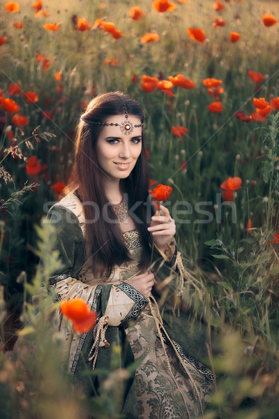 Medieval Princess in a Field of Poppies Stock photo © NicoletaIonescu
