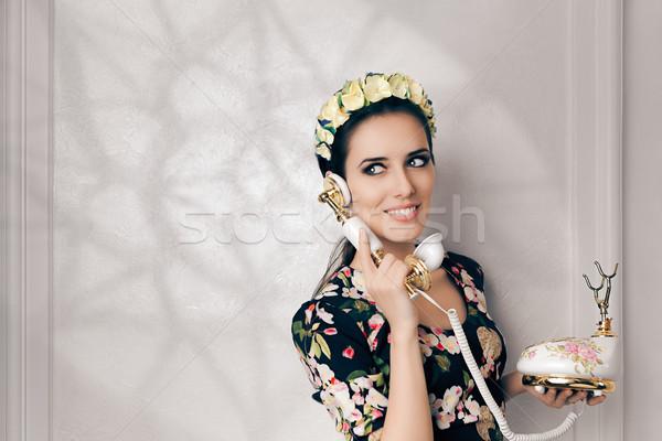 Retro nő klasszikus telefon boldog fiatal nő Stock fotó © NicoletaIonescu