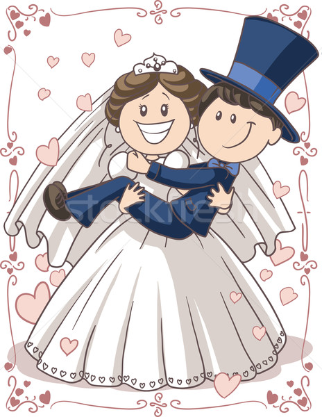 Wedding Invitation Couple Vector Cartoon  Stock photo © NicoletaIonescu