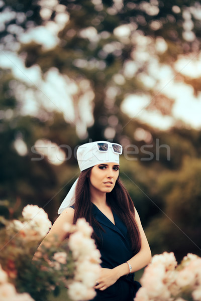 моде женщину голову шарф ретро Сток-фото © NicoletaIonescu