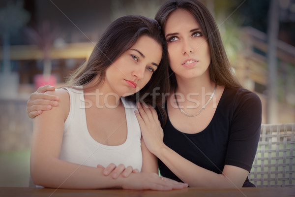 Portrait of two sad girls Stock photo © NicoletaIonescu