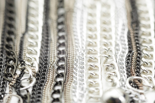 Silver Chains Metallic Necklace Stock photo © NicoletaIonescu