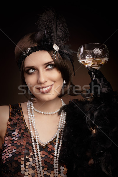 Photo stock: Rétro · 20s · style · femme · champagne