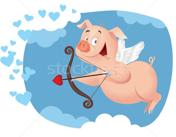 Cupid Pig Vector Funny Cartoon Stock photo © NicoletaIonescu