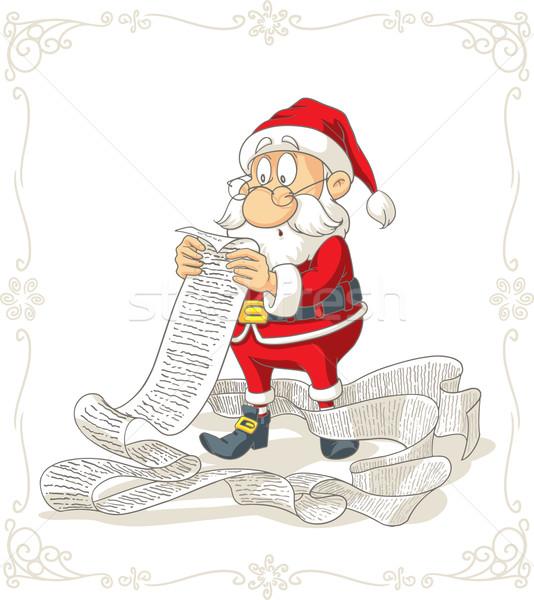 Kerstman lezing groot presenteert vector cartoon Stockfoto © NicoletaIonescu