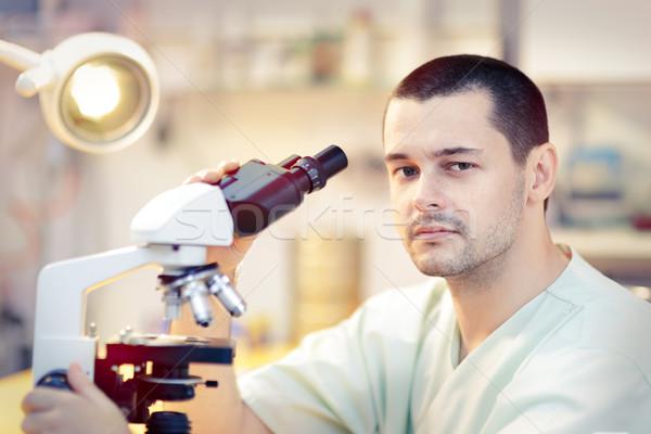 Fiatal férfi tudós mikroszkóp portré férfi orvos Stock fotó © NicoletaIonescu