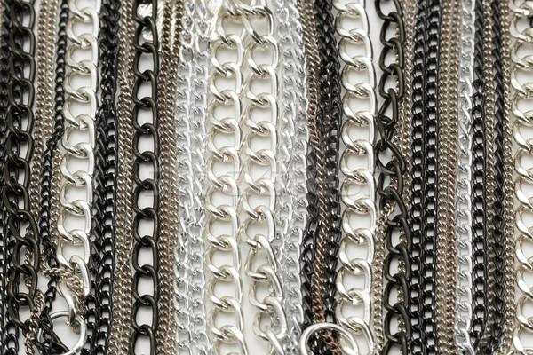 Zilver ketens metalen ketting mode metaal Stockfoto © NicoletaIonescu
