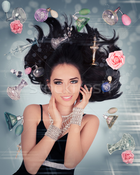 Parfüm fantázia nulla gravitáció gyönyörű fiatal nő Stock fotó © NicoletaIonescu