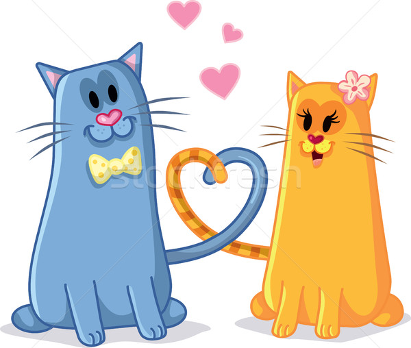 Cats in Love Vector Cartoon Illustration Stock photo © NicoletaIonescu