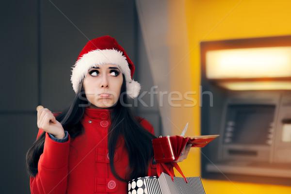смешные Рождества женщину монеты печально Сток-фото © NicoletaIonescu