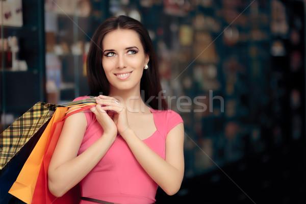 Boldog nő vásárlás bolt mosolyog lány Stock fotó © NicoletaIonescu