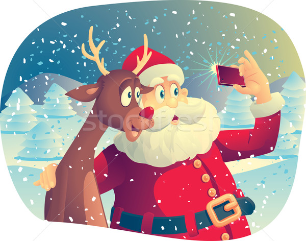 Santa Claus and Rudolph Taking a Photo Together Stock photo © NicoletaIonescu