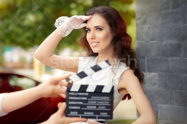 Boldog elegáns nő kész fiatal színésznő Stock fotó © NicoletaIonescu