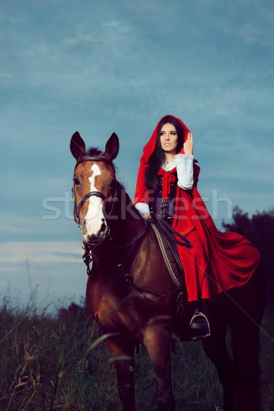 Kırmızı prenses binicilik at portre gizemli Stok fotoğraf © NicoletaIonescu
