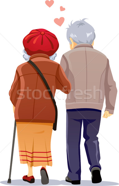 Old Couple in Love Walking Together Vector Illustration Stock photo © NicoletaIonescu