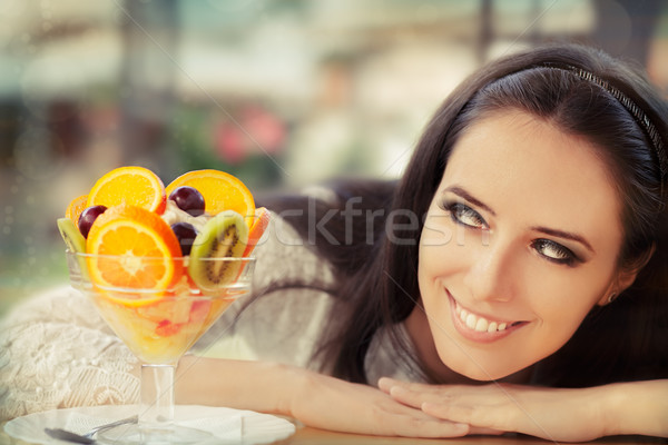 Young Woman with Fruit Salad Dessert  Stock photo © NicoletaIonescu