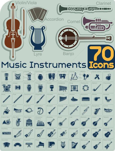 Muziek iconen vector ingesteld collectie georganiseerd Stockfoto © NicoletaIonescu