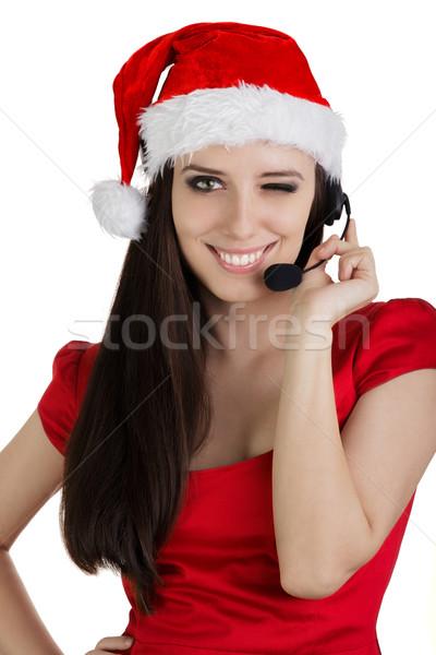 Christmas call center meisje jonge vrouw klantenservice exploitant Stockfoto © NicoletaIonescu