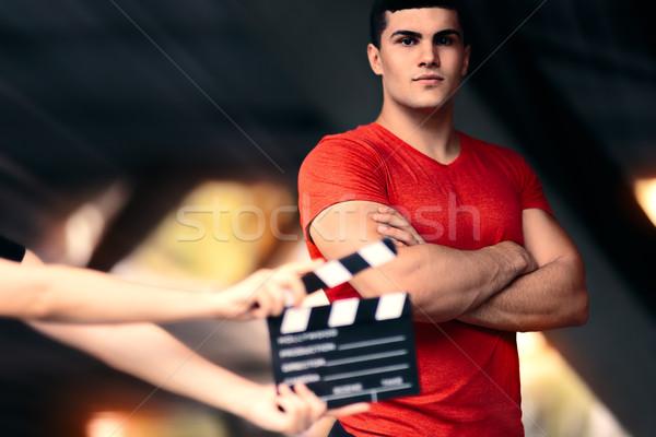 Fitnessz férfi modell kész fiatal színész film Stock fotó © NicoletaIonescu