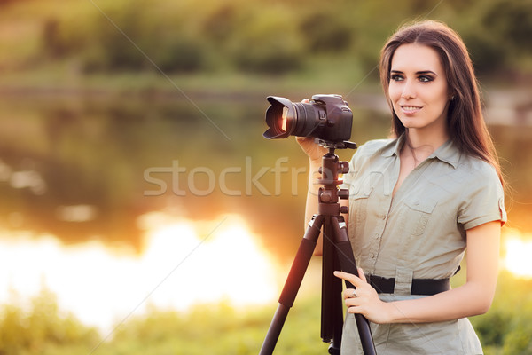 Landscape Photographer with Camera on a Tripod Stock photo © NicoletaIonescu