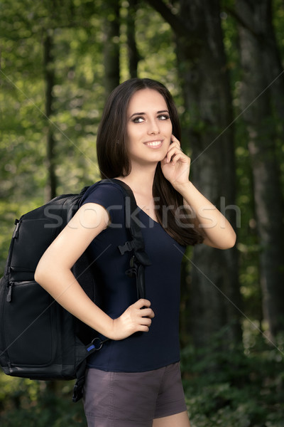 Boldog kirándulás lány utazás hátizsák portré Stock fotó © NicoletaIonescu