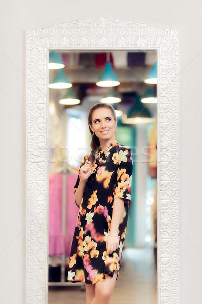 Photo stock: Fille · floral · imprimer · robe · permanent · miroir