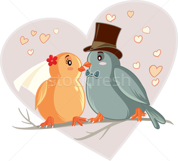 愛 鳥 漫画 ベクトル 図面 花嫁 ストックフォト © NicoletaIonescu