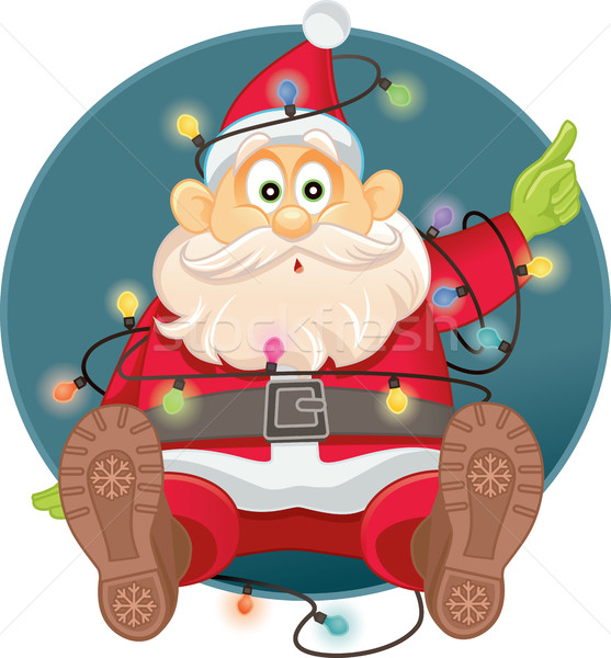 Funny Santa Tangled in Christmas Lights Vector Stock photo © NicoletaIonescu