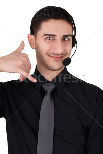 Call Center Man with Headset Isolated on White  Stock photo © NicoletaIonescu