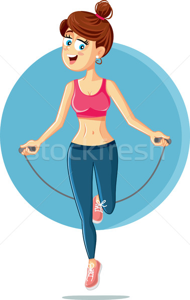 Fitness Girl Jumping Rope Vector Cartoon Stock photo © NicoletaIonescu