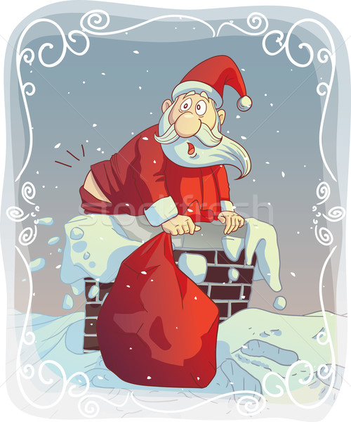 Overweight Santa Stuck in the Chimney Stock photo © NicoletaIonescu